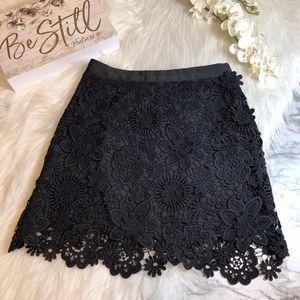 Topshop Floral Lace Skirt Black Mini Size 2 (UK 6)